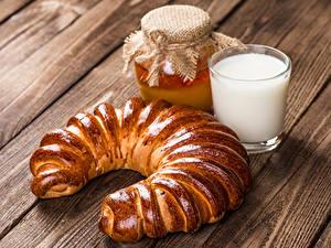 Картинки Выпечка Мед Молоко Доски Банка Стакан Продукты питания