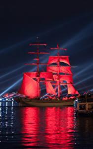 Фото Россия Санкт-Петербург Речка Парусные Корабли Красный Ночные Города