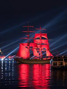 Фото Россия Санкт-Петербург Речка Парусные Корабли Красный Ночные
