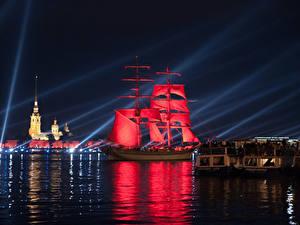 Фото Россия Санкт-Петербург Река Парусные Корабль Красные Ночь Города