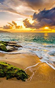 Обои Рассветы и закаты Побережье Волны США Пейзаж Океан Гавайи Мох Облака Пляж Природа