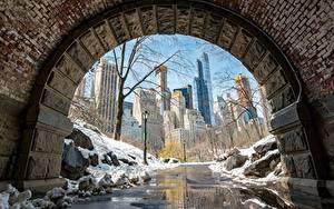 Картинки Штаты Манхэттен Снег Нью-Йорк Тротуар