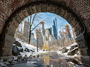 Картинки Штаты Манхэттен Снег Нью-Йорк Тротуар Города