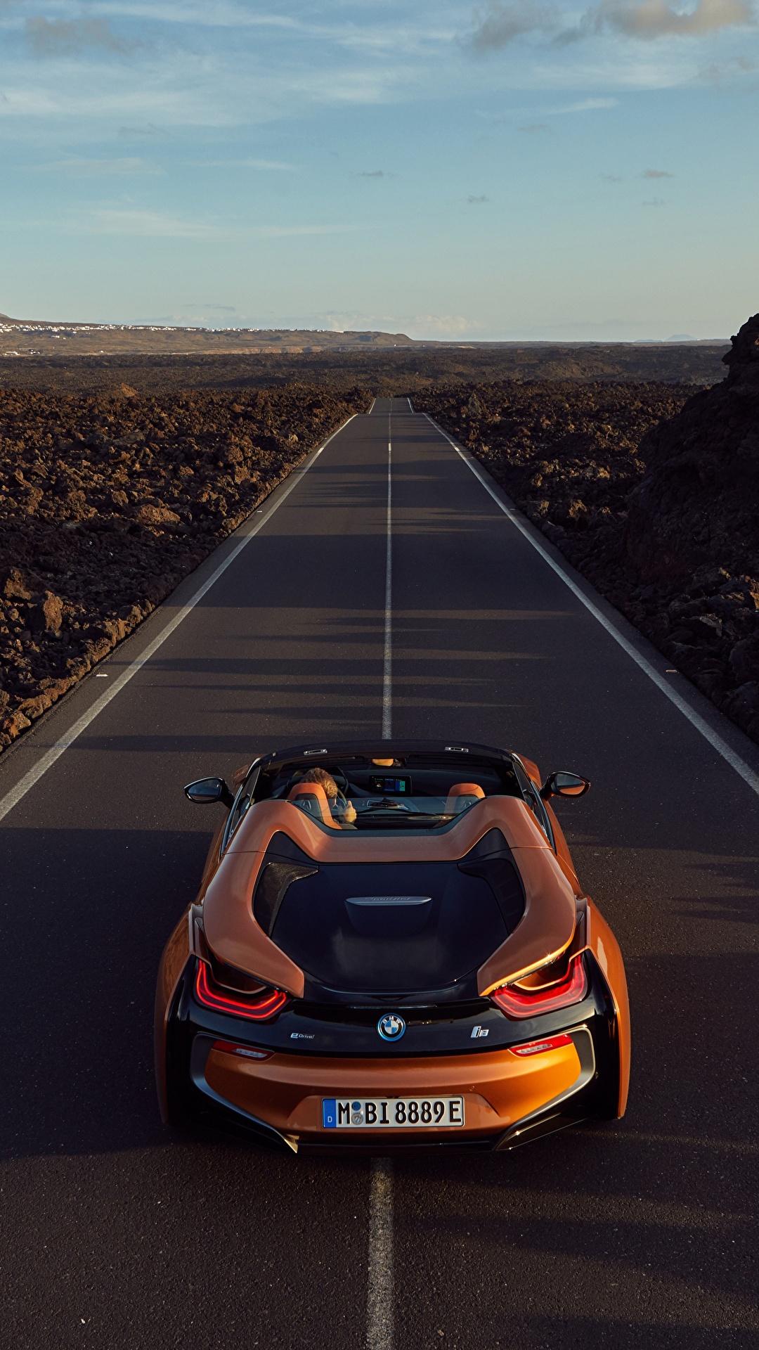 Картинка БМВ 2018 i8 Родстер оранжевые Дороги Автомобили 1080x1920 BMW оранжевых Оранжевый оранжевая Авто Машины