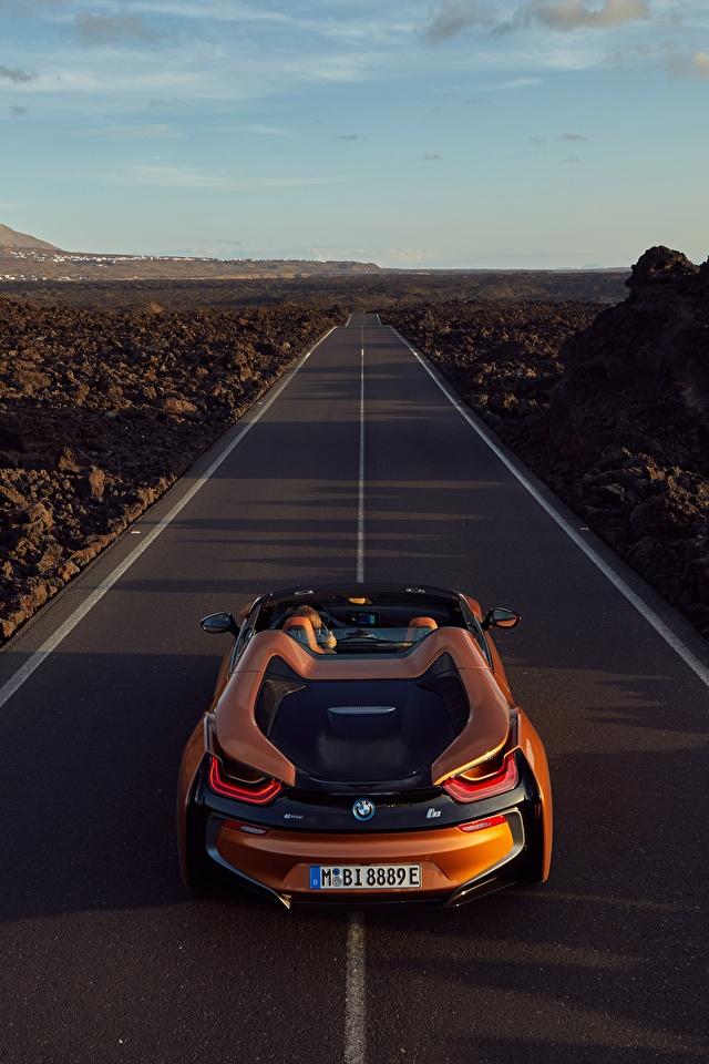 Картинка БМВ 2018 i8 Родстер оранжевые Дороги Автомобили 640x960 для мобильного телефона BMW оранжевых Оранжевый оранжевая авто машина машины автомобиль