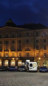 Картинки Чехия Здания Уличные фонари Ночь Улица Brno