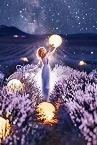 Фотография Лаванда Поля Шар Ночные Kristina Makeeva Природа Девушки