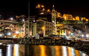 Картинки Лигурия Италия Здания Реки Мост Ночью Уличные фонари Camogli город