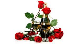 Картинки Игристое вино Розы Бокалы Бутылка Белый фон Цветы Еда