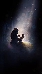 Обои Emma Watson Монстры Красавица и чудовище 2017 Танцы Двое Фильмы