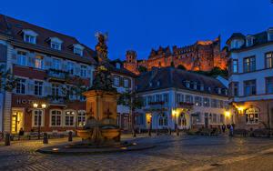 Фотография Германия Дома Памятники Вечер Улиц Уличные фонари Heidelberg Города
