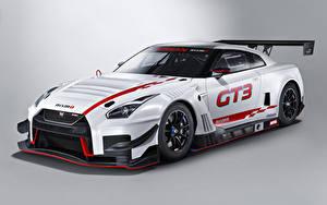 Фотографии Ниссан Стайлинг Серый фон Белый 2018 Nismo GT-R GT3 Авто