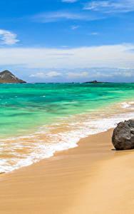 Фото Тропики Побережье Волны Камни Штаты Океан Гавайи Песок