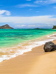 Фото Тропики Побережье Волны Камни Штаты Океан Гавайи Песок Природа