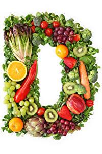 Фото Овощи Фрукты Виноград Белый фон Дизайн D Еда