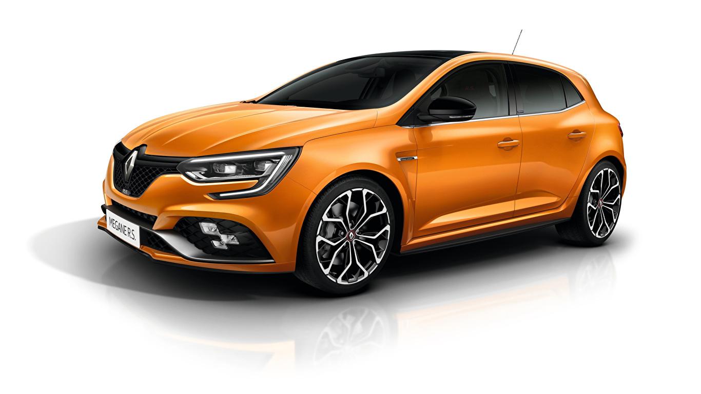 Фотографии Renault Megane R.S. Sport chassis оранжевых машины Металлик Белый фон 1366x768 Рено Оранжевый оранжевые оранжевая авто машина автомобиль Автомобили белом фоне белым фоном