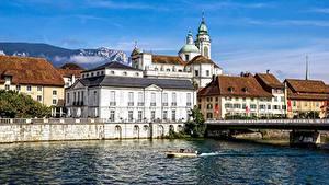 Фото Собор Швейцария Речка Здания Solothurn