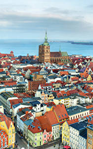 Картинки Германия Дома Реки Сверху Stralsund город