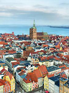 Картинки Германия Дома Реки Сверху Stralsund
