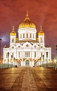 Фотографии Москва Россия Храмы Мосты Собор Ночью Забора Уличные фонари Saviour Cathedral Города