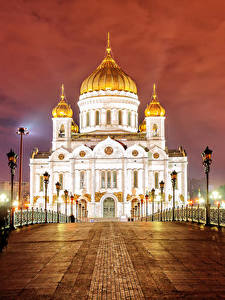 Фотографии Москва Россия Храмы Мосты Собор Ночью Забора Уличные фонари Saviour Cathedral город