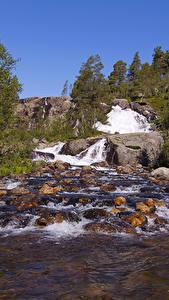 Фотографии Норвегия Водопады Камень Реки
