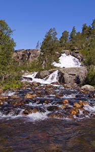 Фотографии Норвегия Водопады Камень Реки Природа