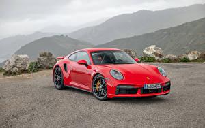 Обои Порше Красный Металлик 2020 911 Turbo S Worldwide Автомобили