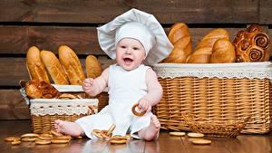 Картинка Хлеб Повары Шляпе Младенец ребёнок