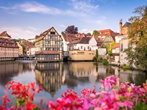 Фотографии Дома Германия Реки Бавария Bamberg Regnitz River