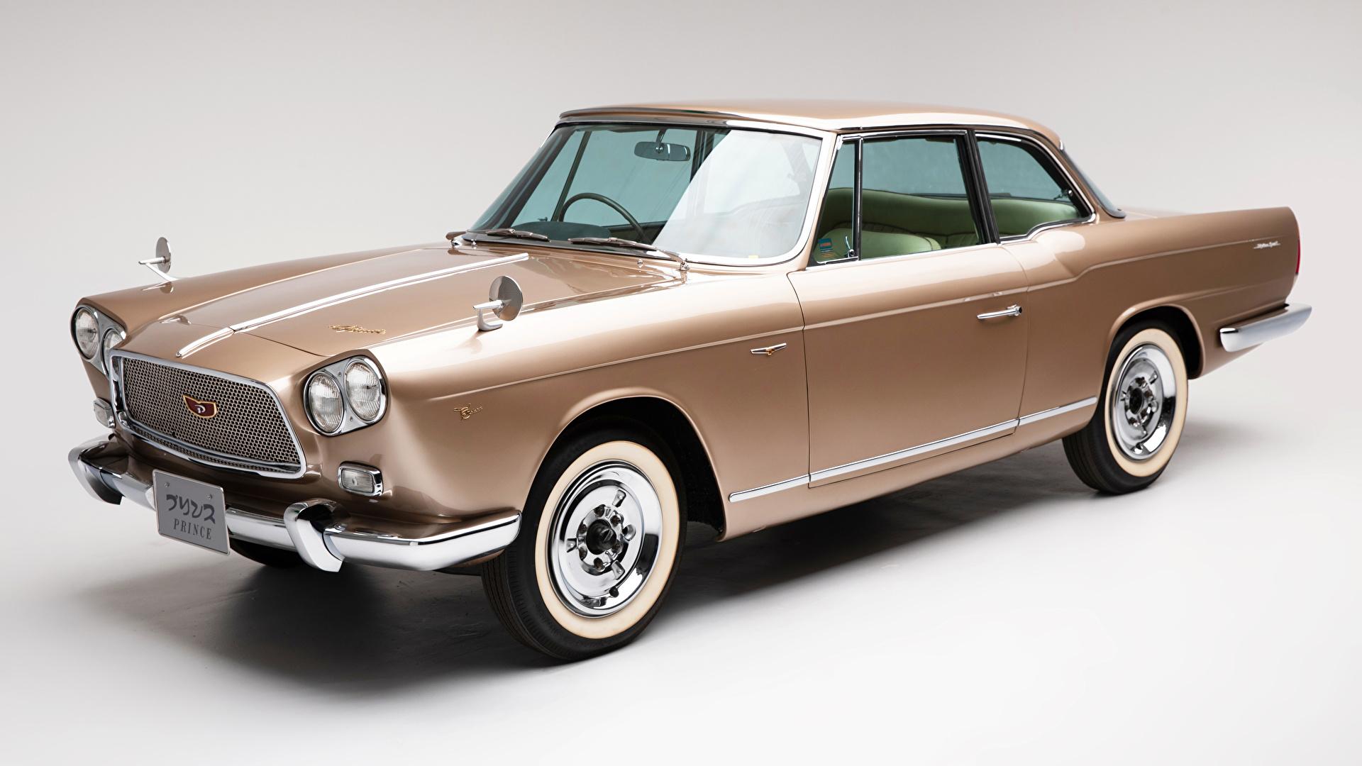 Картинки Ниссан 1961-63 Prince Skyline Sports Coupe Michelotti Ретро авто Металлик сером фоне 1920x1080 Nissan винтаж старинные машина машины автомобиль Автомобили Серый фон
