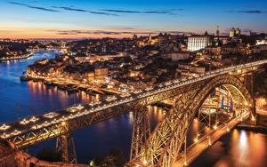 Фотография Вечер Мосты Реки Здания Португалия Портус Кале Vila Nova de Gaia Dom Luís I Bridge Города