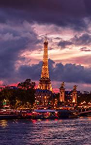 Фото Франция Речка Небо Мосты Причалы Вечер Париж Облака Эйфелева башня город