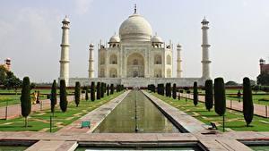 Фото Индия Мечеть Тадж-Махал Дизайн Купол Mausoleum, Agra Города
