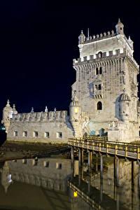 Фотография Португалия Мосты Ночь Torre de Belem Lisbon город