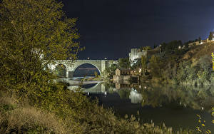 Картинка США Крепость Реки Мосты Ночь Santa Ana город