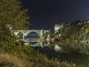 Картинка США Крепость Реки Мосты Ночь Santa Ana Города