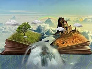 Картинки Лодки Водопады Книга Утес Трава Деревья Облака Фантасмагория Фантастика