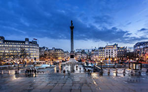 Фото Англия Дома Вечер Памятники Лондон Городская площадь Уличные фонари
