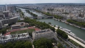 Обои Франция Здания Речка Мосты Париже Горизонта Сверху river Seine Города