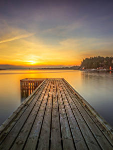 Фотография Норвегия Реки Лофотенские острова Рассветы и закаты Пристань Пейзаж Rogaland Природа