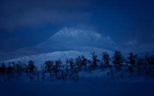 Обои Зимние Горы Снег Деревья Ночные Природа