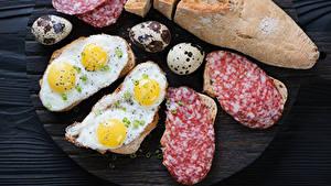 Картинки Бутерброды Хлеб Колбаса Яичницы Яйцо Еда