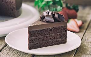 Фотография Торты Шоколад Кусок Тарелка