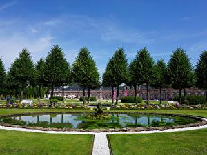 Фотография Германия Парки Фонтаны Дворец Газон Деревьев Schwetzingen Palace Природа