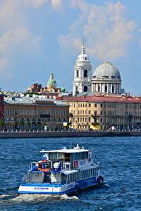 Обои Речка Речные суда Здания Россия Санкт-Петербург Купол