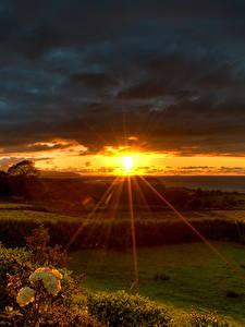 Картинки Рассвет и закат Лучи света Солнца