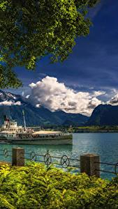 Фотографии Швейцария Озеро Речные суда Горы Забор Oberhofen Lake Thun