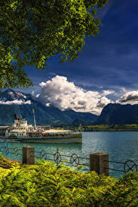 Фотографии Швейцария Озеро Речные суда Горы Забор Oberhofen Lake Thun Природа