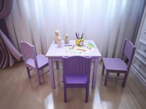 Фотографии Интерьер Детская комната Дизайн Стол Стулья Карандаши